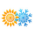 snowflake and sun design vector image vector image