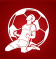 soccer player winner action graphic vector image