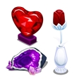Stylized glass red heart single rose and amethyst vector image