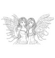 two beautiful fairies vector image vector image