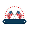 united states america flags crossed emblem vector image vector image