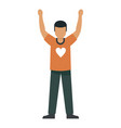 volunteer boy red shirt icon flat style vector image vector image