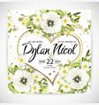 wedding heart floral template invite vector image vector image