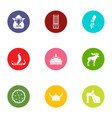 wild icons set flat style vector image vector image