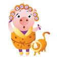 zodiac pig leo chinese horoscope symbol 2019 year vector image