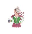 German Barmaid Serving Beer Watercolor vector image