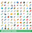 100 strategy icons set isometric 3d style vector image vector image