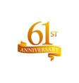 61 year ribbon anniversary vector image