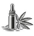 a black and white cannabis oil vector image