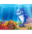 A scary blue shark under the sea vector image vector image