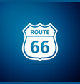 american road icon isolated on blue background vector image