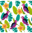 bird tropical hibiscus flower leaves pattern vector image
