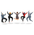 business people jumping excited happy employees vector image vector image
