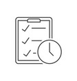 checklist with clock outline icon on white vector image vector image