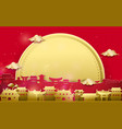 chinese village with big moon background vector image