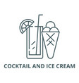 cocktail and ice cream line icon cocktail vector image