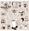 coffee tea cups - doodles set vector image vector image