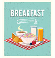 delicious cereal with orange juice and croissant vector image
