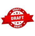 draft ribbon draft round red sign draft vector image vector image