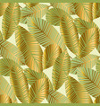 elegant gold exotic leaves seamless pattern vector image vector image