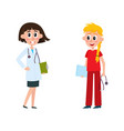 flat female doctor nurse characters vector image vector image