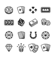Gambling icons set casino and card poker game vector image vector image