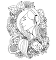 girl and headphones in the vector image vector image