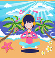 happy girl with headphones listening to the music vector image vector image