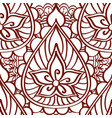 Henna seamless pattern of brown lines on a white vector image