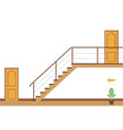 interior bright room with stairs and two doors vector image
