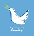 international peace day with drawing of a dove vector image vector image
