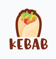 kebab with chicken or meat and vegetables roll vector image