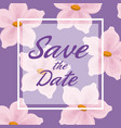 lilac card background with decorative flowers and vector image vector image