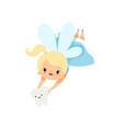 little tooth fairy flying with batooth cute vector image vector image