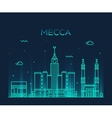 Mecca skyline Trendy linear vector image vector image