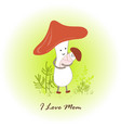 mushroom mom and its newborn baby on forest vector image vector image