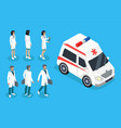 nurse and doctor near ambulance car color banner vector image vector image