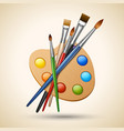 Palette with paint brushes vector image vector image