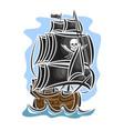 pirate cartoon sailing ship vector image vector image