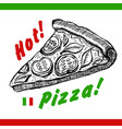 pizza slice drawing hand drawn pizza vector image vector image