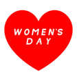 red heart for womens day with white fill signature vector image