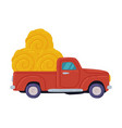 red pickup loaded with hay bales agricultural vector image
