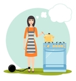 Sad woman dreaming near the kitchen stove vector image vector image