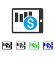 sales chart on pda flat icon vector image vector image