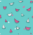seamless hand drawn watermelon pattern blue vector image vector image
