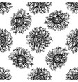 seamless pattern with black and white sunflower vector image