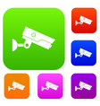 security camera set color collection vector image vector image