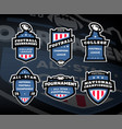 set of american football logos emblems labels on vector image