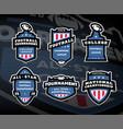 set of american football logos emblems labels vector image