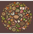 Set of Japan food cartoon doodle objects symbols vector image vector image